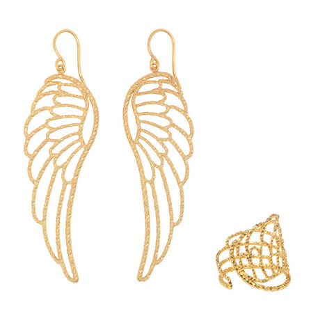 A set of Large Angel Wing earrings and matching ring in gold.
