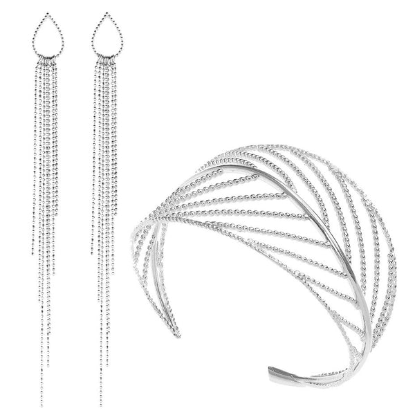 Gift set, featuring the Goddess Leaf Cuff and Dew Drop Waterfall earrings in silver.