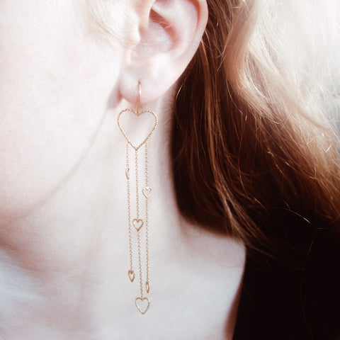Waterfall Of Love Earrings - Gold