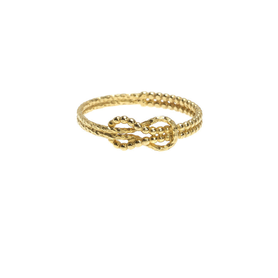 Know the Ropes ring in gold, featuring a knotted design in intertwined beaded and sparkling wire.