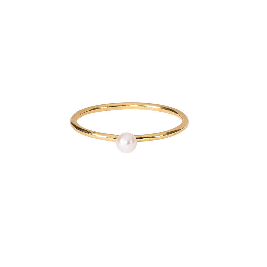 Lunar White Mini Pearl ring in gold, featuring a mini freshwater pearl on a simple gold band.