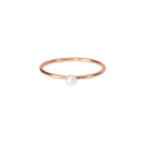 Lunar White Mini Pearl Ring - Rose Gold
