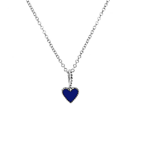 Navy Heart necklace in silver, featuring a beaded edge heart design in navy enamel.