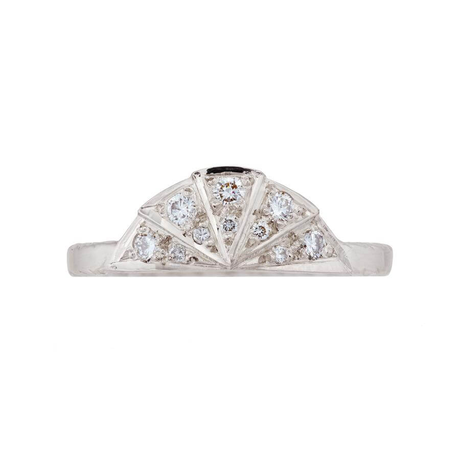 White diamond sunbeam wedding band in 18 carat white gold, featuring 9 diamonds in the art deco style sunbeam shape.
