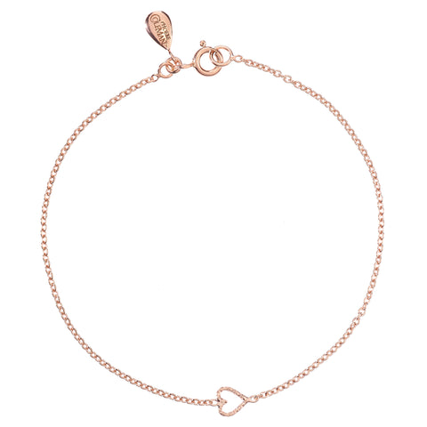 Love Me Tender Heart bracelet in rose gold, featuring an adorable tiny open heart.