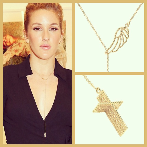 Ellie Goulding wearing the Angel Wing and Lace Cross necklace in gold.