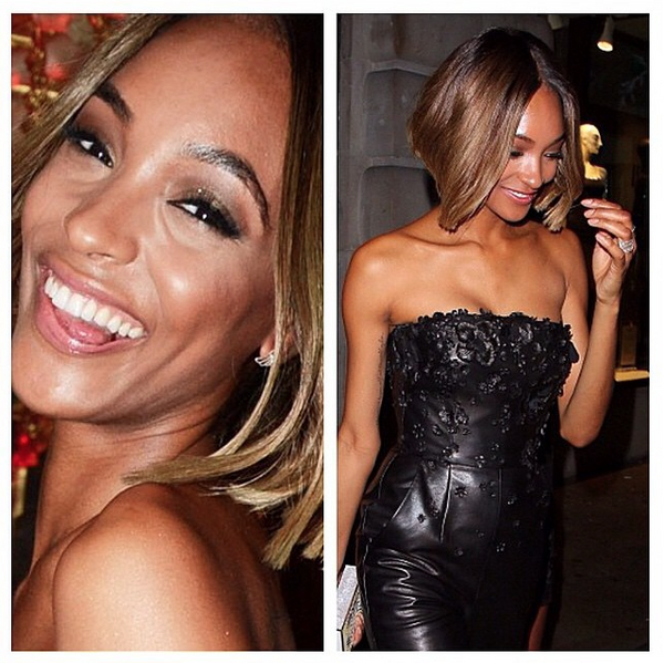 Jourdan Dunn wearing the Angel Wing Stud earrings in silver.