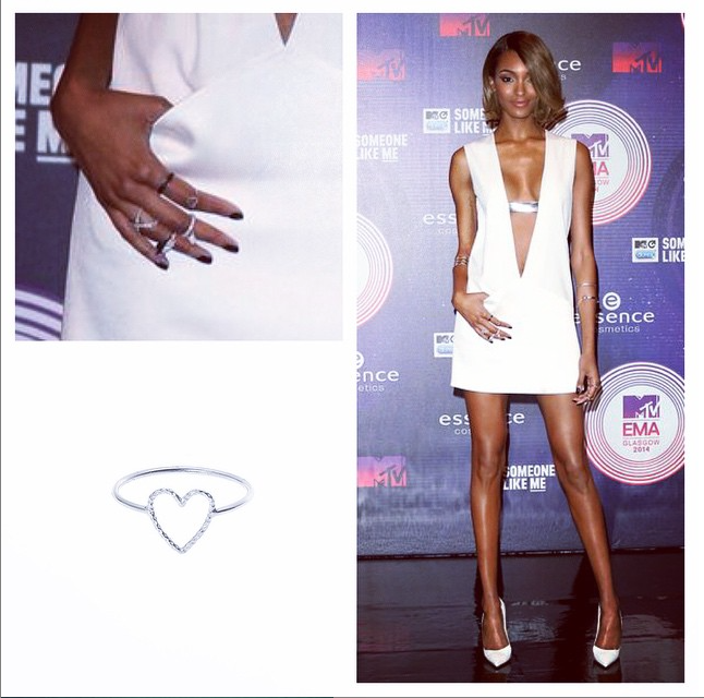 Jourdan Dunn wears the Love Me Tender ring in silver.