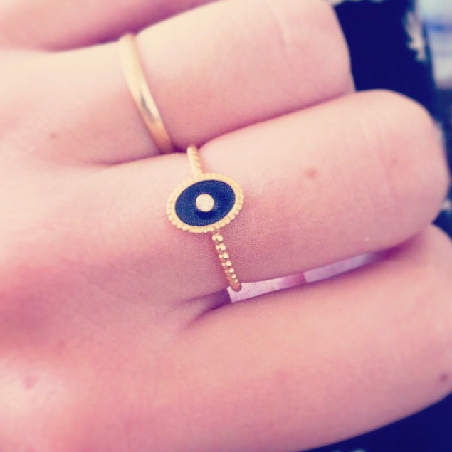 Midnight Love ring in gold worn by customer.