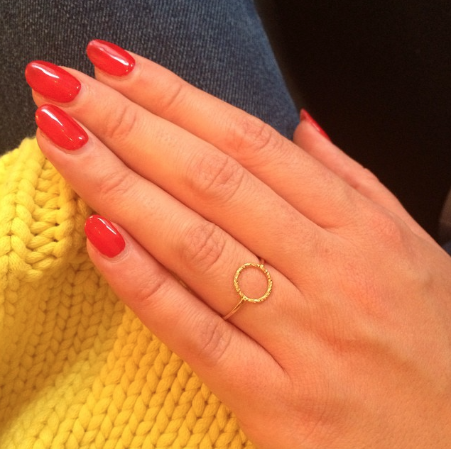 The Protective Circle ring in gold worn by customer.