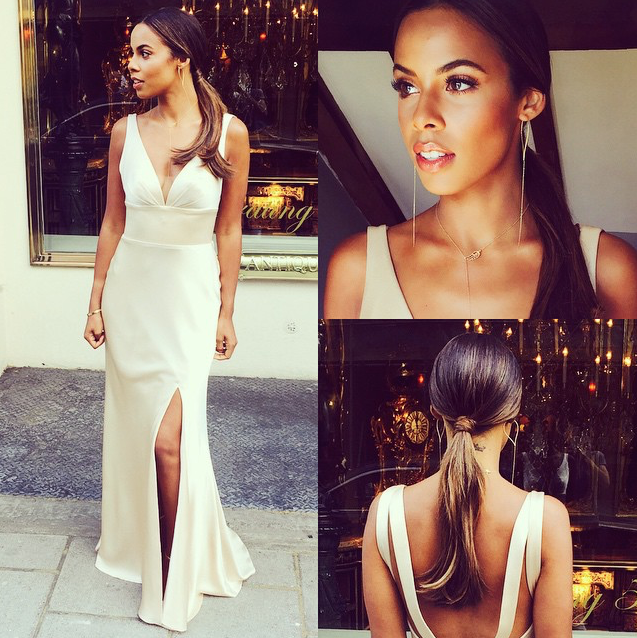 Rochelle Humes wears the Billowing Sail Pointed Hoop earrings in silver.