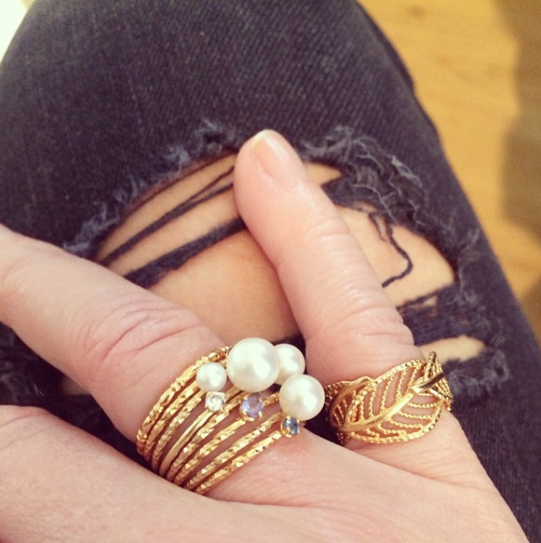 Dreamer Stacking set, Forget-Me-Not Blue Sapphire ring and Wonderland Wrap Around Leaf ring worn by customer.