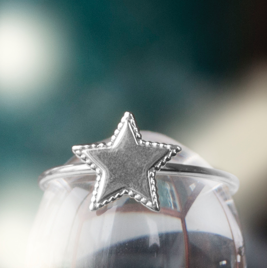 SALE Beaded Star Ring - Silver