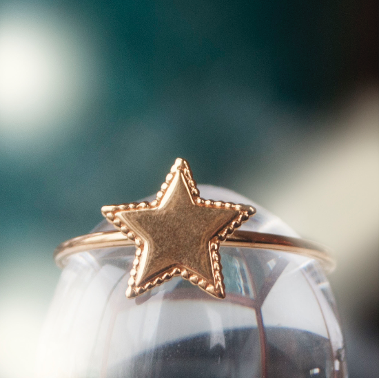 SALE Beaded Star Ring - Silver/Gold