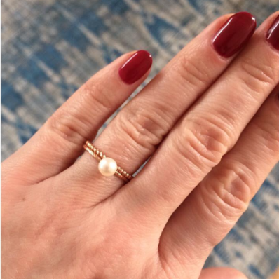 Large Lunar Pearl Sparkling Band Ring - Rose Gold