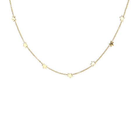Seven Star necklace in gold, featuring seven tiny sparkling stars.