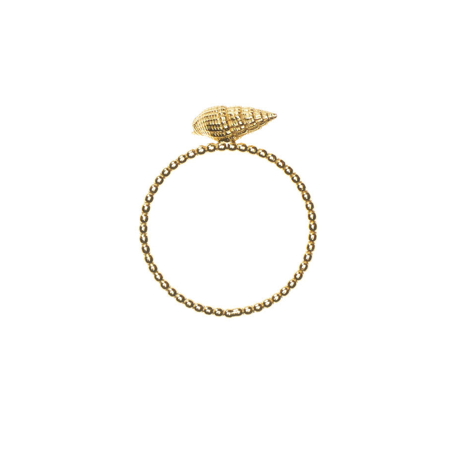 Sound of the Sea Shell ring with beaded band in gold, cast from a real shell. Side view.