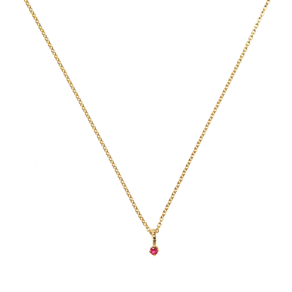 Ruby Pendant Necklace - Gold