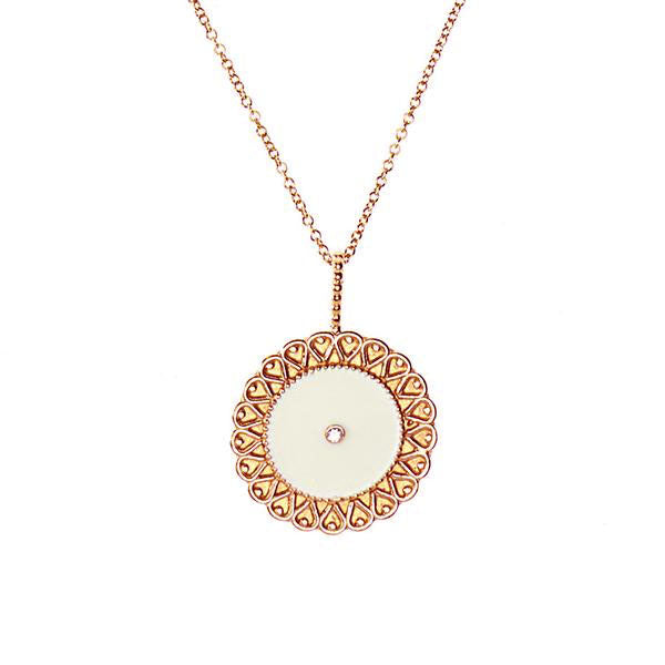 White Moon Necklace - Rose Gold