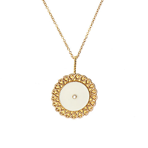 White Moon necklace in gold, featuring  white enamel and a white diamond.