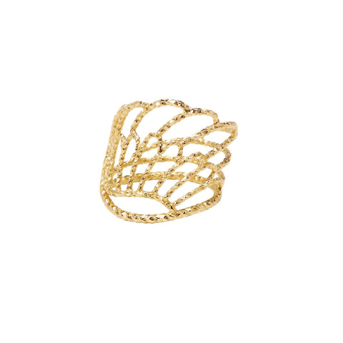 Angel Wing Wrap Around Ring - Gold