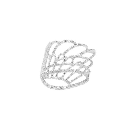 Angel Wing Wrap Around ring in silver, featuring a diamond cut textured ring made from an angel wing.