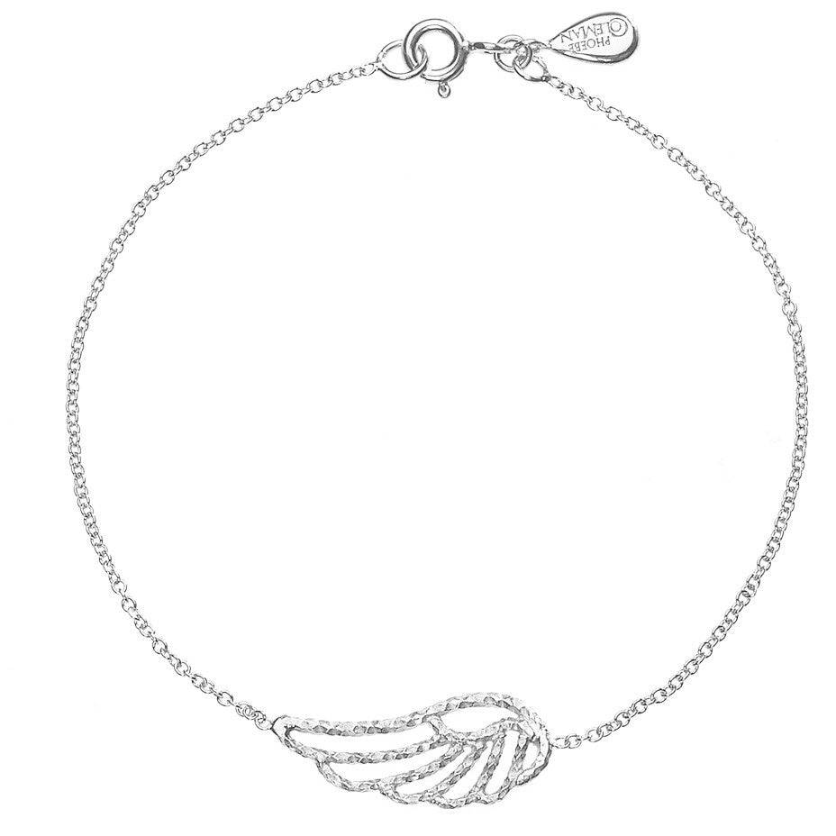 Angel Wing bracelet in silver, featuring an exquisite sparkling angel wing on a thin chain.
