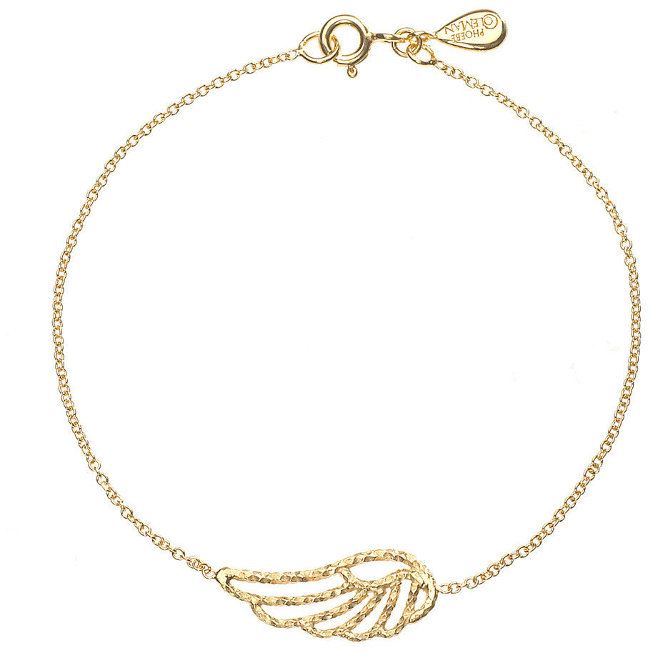 Angel Wing bracelet in gold, featuring an exquisite sparkling angel wing on a thin chain.
