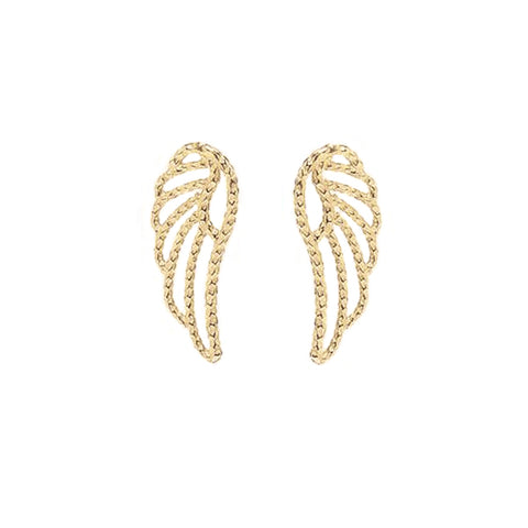 Angel Wing Stud Earrings - Gold