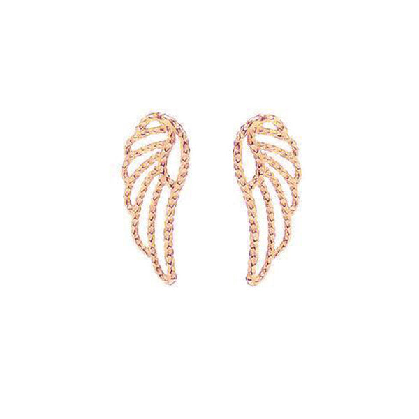 Angel Wing Stud Earrings - Rose Gold