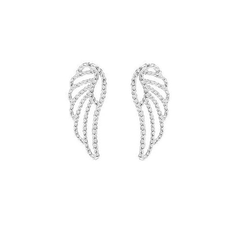 Angel Wing Stud earrings in silver.