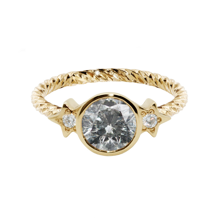 Nova Luna Salt & Pepper Diamond Engagement Ring
