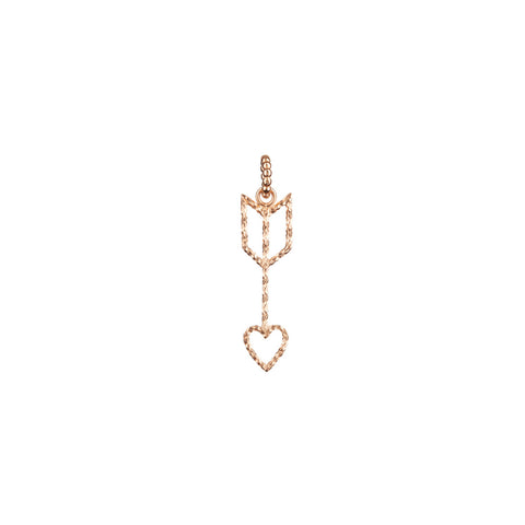 Arrow Of Love charm in rose gold, featuring a heart arrow made of sparkling diamond cut wire.