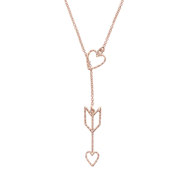 Arrow of Love Lariat Necklace - Rose Gold