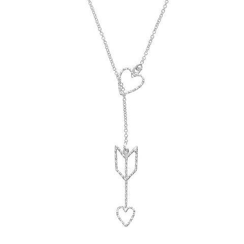 Arrow Of Love necklace in silver, featuring a delicate and sparkling heart and arrow design.