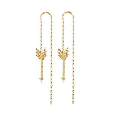 Arrow Thread Through Earrings - Gold