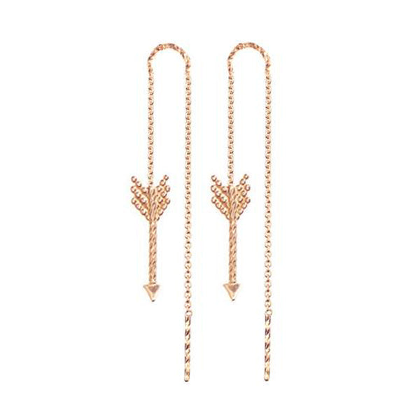 Arrow Thread Through Earrings - Rose Gold