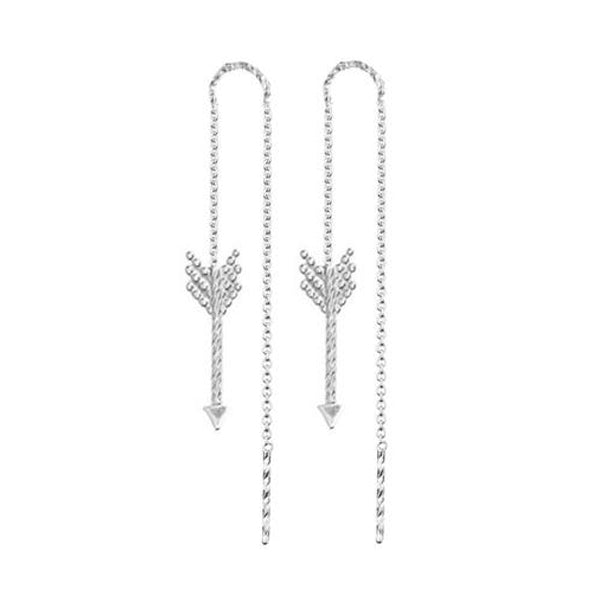 Arrow Thread Through Earrings - Silver