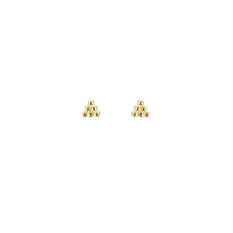 Beaded Triangle Stud Earrings - Gold