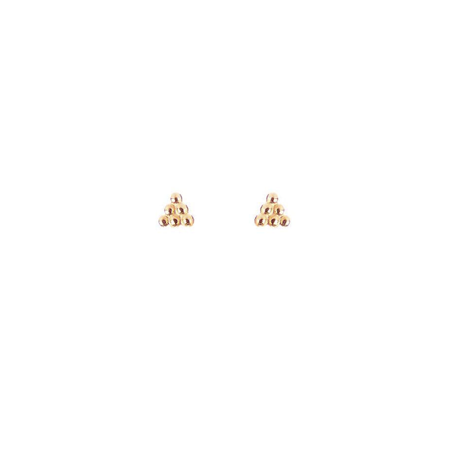 Beaded Triangle Stud Earrings - Rose Gold