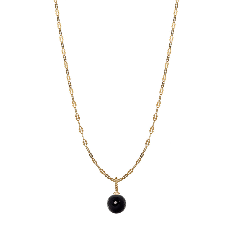 Black Spinel Disco Ball Necklace - Gold
