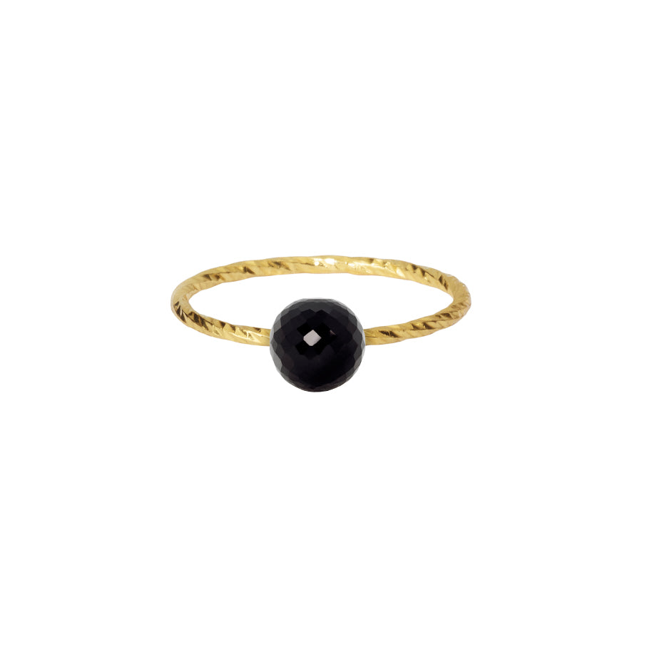 Black Spinel Disco Ball Stacking Ring - Gold
