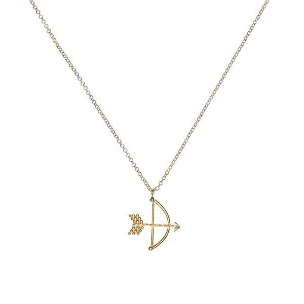 Bow and Arrow necklace in gold.
