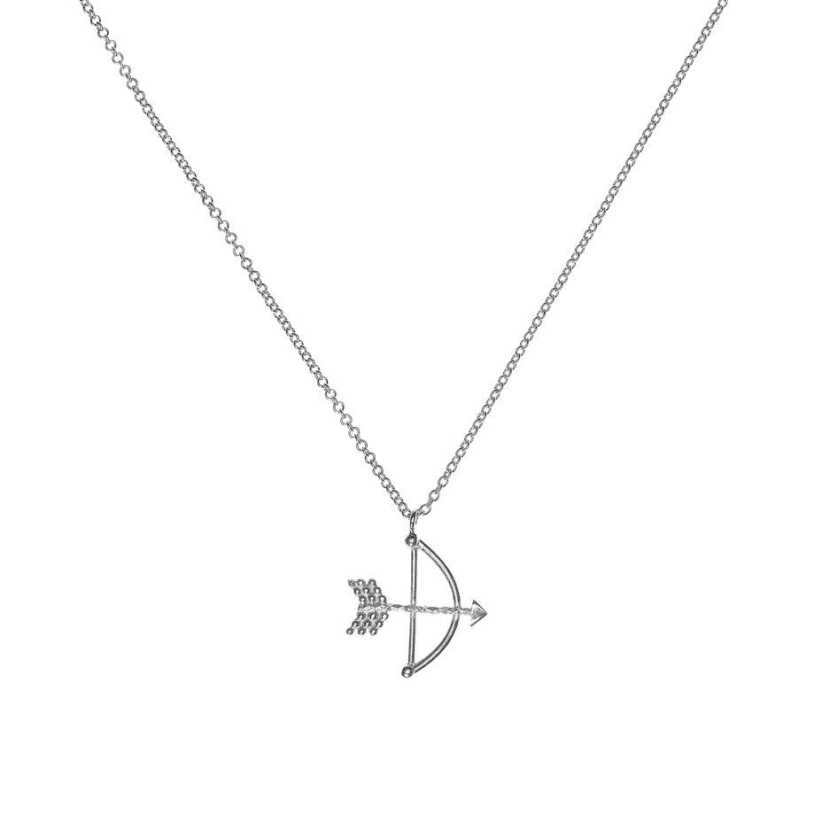Bow and Arrow necklace in silver.