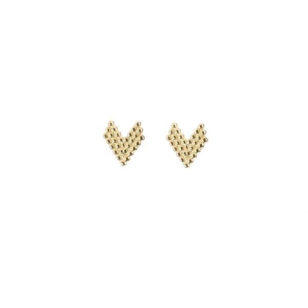 Brave Heart Stud Earrings - Gold