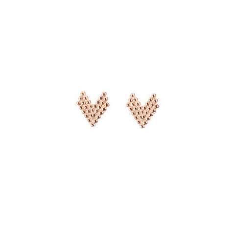 Brave Heart Stud Earrings - Rose Gold