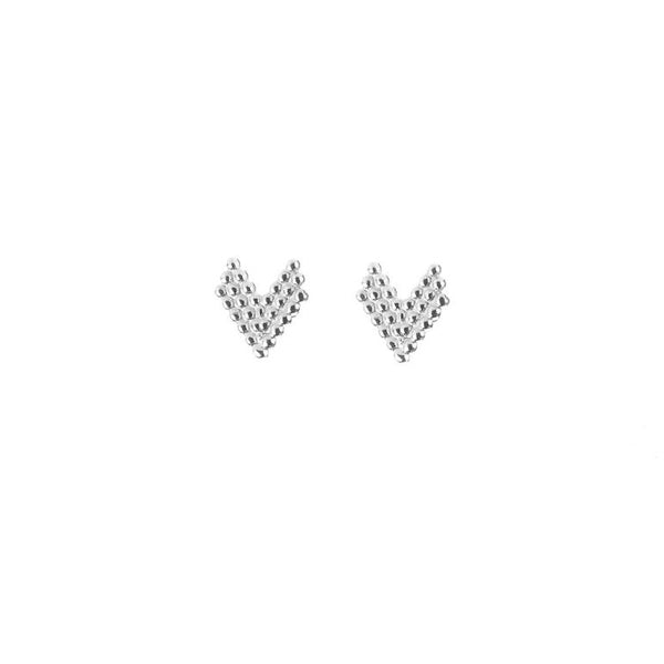 Brave Heart Stud Earrings - Silver