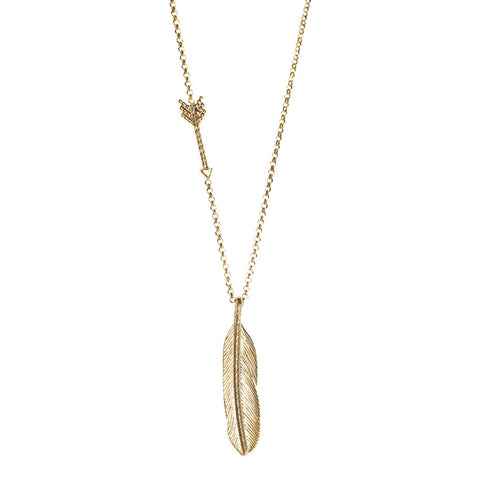 Sacred Feather and Arrow necklace in gold, made from our signature diamond cut and beaded arrow hanging on a long chain with a large detailed feather pendant.