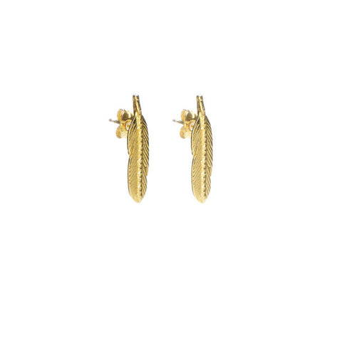 Take Flight Feather Stud earrings in gold.