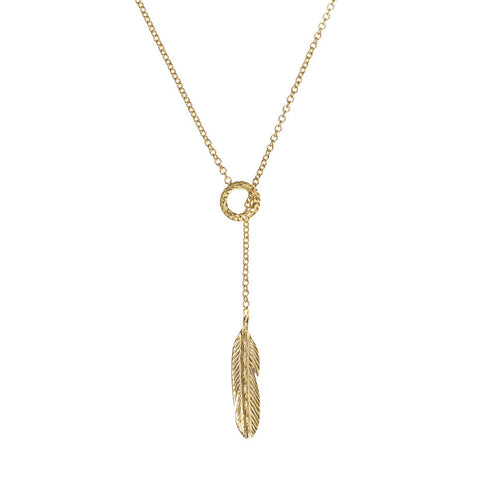 Take Flight Feather Lariat necklace in gold, featuring a small circle and feather.